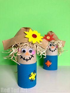 Easy Toilet Paper Roll Scarecrow for Preschool - Red Ted Art Diy Paper Crafts diy crafts using toilet paper rolls Diy Projects For Kids, Fall Crafts For Kids, Toddler Crafts, Preschool Crafts, Kids Crafts, Easy Crafts, Art For Kids, Art Projects, Fall Preschool