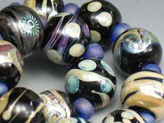 SJC Lampwork 15 handmade dichroic & silver glass round beads ~SRA~ USA~ #SJCLampwork #Lampwork