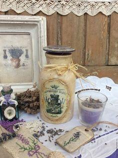 """Купить Аптекарская скляночка """"Лавандовая соль"""" - бежевый, прованс, прованский стиль, лаванда, лавандовый, для хранения"""