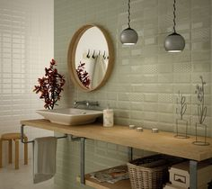 Metro Olive Brillo are pale green wall tiles made of ceramic. These tiles are beveled. Wall tiles, lining, molding and quarter rounds also available. Metroid, Interior Lighting, Bathroom Interior, Olives, Wall Tiles, Sweet Home, House Design, Furniture, Home Decor