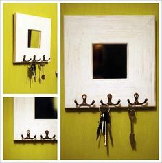 DIY Mirror Key Holder - Paperblog I like this and already have the mirror's, but want to add a saying!!