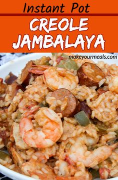 Instant Pot Creole Jambalaya recipe - a delicious New Orleans recipe made with shrimp, sausage and chicken and flavored with Cajun spices and rice. Creole Jambalaya Recipe, Jambalaya Recipe Instant Pot, Instant Pot Dinner Recipes, Cajun Meatball Stew Recipe, Chicken And Sausage Jambalaya, Sausage Rice, Creole Recipes, Cajun Recipes, Cooking Recipes