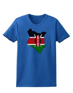 TooLoud Kenya Flag Silhouette Distressed Womens Dark T-Shirt