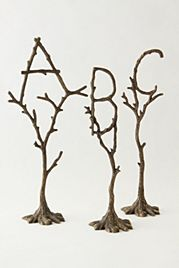 spell it out, baby room decor (winter trees monogram €20 each from anthropologie)