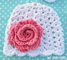 Lacy shell stitch crochet baby beanie with scalloped edge. Free pattern.