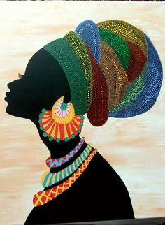 African woman on canvas