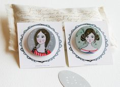 Ladies duet no 3  Pinback Buttons by LilyMoon on Etsy, $5.00