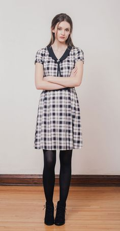 KITTY Black/Ivory: Plaid dress with contrasting collar, belt and tie. High-quality Tencel-cotton twill made in Japan. Betina Lou Fall-Winter 2014-15.