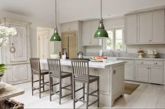 gray and cream, green pendants add a perfect pop of color