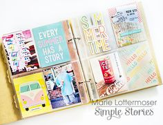 Yellow Sn Binder by design team member Marie Lottermoser Pocket Scrapbooking, Mini Scrapbook Albums, Scrapbook Sketches, Diy Scrapbook, Scrapbooking Layouts, Mini Albums, Scrapbook Pages, Project Life 6x8, Project Life Layouts