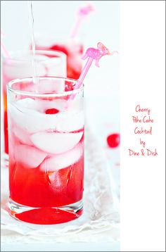 Cherry Poke Cake Cocktail ~ This refreshing cocktail recipe tastes just like old fashioned Cherry Poke Cake.