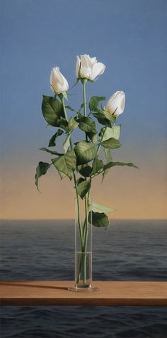 White Roses by Antonio Cazorla (oil painting)