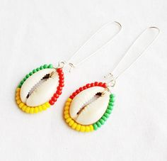 IRIE  Silver Beaded Cowrie Shell Earrings by ZuriEarthlyDesigns, $18.00