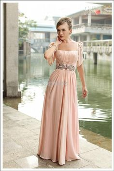 Wholesale New Fashion A-Line Portrait Satin Beading with Short Sleeves Long Bridesmaid Dresses 2013 Plus Size, Free shipping, $220.01-220.63/Piece   DHgate