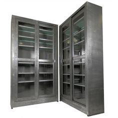 single industrial metal cabinet w sliding glass doors