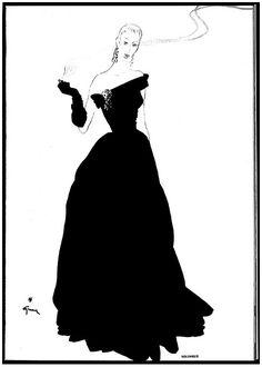 René Gruau, Molyneux, evening dress, 1946