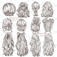 Drawing Sketches, Art Drawings, Drawings Of Hair, Illustration Sketches, Drawing Tips, Drawing Faces, Fashion Illustration Hair, Hipster Drawings, Gesture Drawing