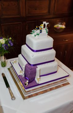 Purple lego wedding cake