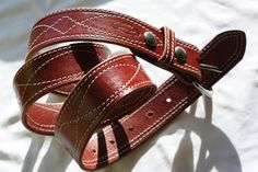 1.5 inch wide Amish made, Chestnut Harness Leather Belt with Stitching and Stainless Steel, interchangeable Buckle