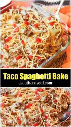 Taco Spaghetti Bake Tacos and spaghetti come together in this easy to make casserole that scores big time at the supper table! Made with ground beef, pasta, taco seasoning and loaded with cheese, this is comfort food taken to the max. Taco Spaghetti, Spaghetti Casserole, Baked Spaghetti, Spaghetti Recipes, Cooking Spaghetti, Mexican Spaghetti, Chicken Spaghetti, Gourmet Recipes, Mexican Food Recipes