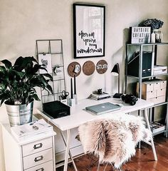 """My dream office / desk space. Love the black and white modern decor and all the different textures and colors in it. The plants, the throw blanket, the grid board, and light box. Also love the """"you're my wonder wall"""" print"""