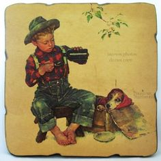 VINTAGE NORMAN ROCKWELL Art Painting Old PRINT PRINTED DOG BOY Wood Decoupage $168 .... we sell more VINTAGE and OLD HOME DECORATIONS at http://www.TropicalFeel.com
