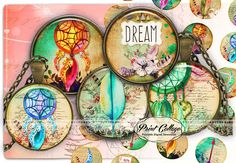 Dreamcatcher Cabochon images Digital Download by PrintCollage