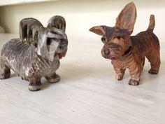 Pair of Vintage Carved Wood Dogs Scottie Yorkie Westie Adorable Black Forest | eBay