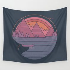 The Mountains Are Calling Wall Hanging Tapestry by The Paper Crane - Small: x Room Tapestry, Tapestry Wall Hanging, Tapestries For Guys, The Mountains Are Calling, Landscape Walls, Decorate Your Room, Embroidery Applique, Wool Applique