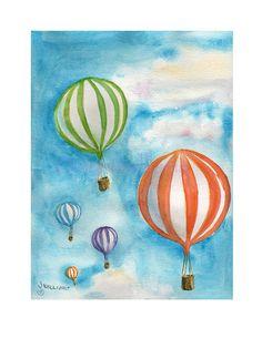 Hot Air Balloons D  original watercolor art print by Jayneart, $14.00