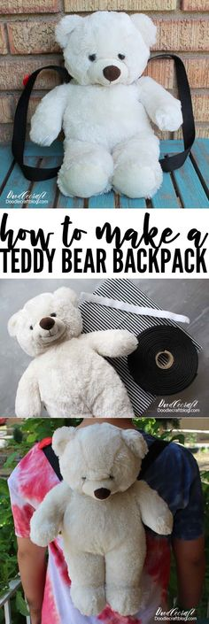 How to Make a Teddy Bear Backpack DIY!  This teddy bear backpack is adorable, plushie and loveable--plus, a big pocket for treasures. This is a perfect upcycle project using an old stuffed animal!