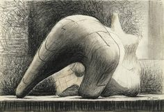'Reclining Figure' sketch by British sculptor artist Henry Moore (1898-1986). via pictify