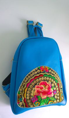 Blue Hmong Boho Leather Embroidery Bag Ethnic Backpack #Streetstyle #Hmong Bag #Boho Chic #Rucksack #Vintage #Hmong Backpack #Balmain by pasaboho on Etsy https://www.etsy.com/listing/214103548/blue-hmong-boho-leather-embroidery-bag