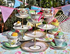 Vintage mismatched cake stands with teacup tops