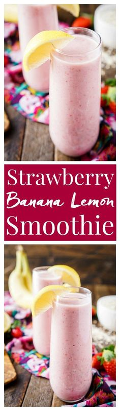 This Strawberry Banana Lemon Smoothie is a bright and delicious way to start the day! A balanced blend of fresh fruit, yogurt, nut milk, flax, and oatmeal! Lemon Smoothie, Smoothie Prep, Juice Smoothie, Smoothie Drinks, Smoothie Bowl, Smoothie Recipes, Drink Recipes, Yummy Smoothies, Yummy Drinks