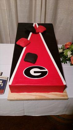#cornhole grooms cake #UGA Groomsman Cake, Groomsmen, 11th Birthday, Birthday Cake, Cupcake Cakes, Cupcakes, Wedding Wows, Reception Design, Day Of My Life