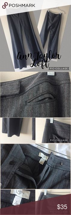 """Ann Taylor Loft trousers 4 Gray with white & maroon pinstripe trousers from Ann Taylor Lift. 2 front & 2 back slit pockets, hook & eye closure. 48% polyester, 48% rayon, & 4% spandex. 15"""" flat waist, 8"""" rise, & 32"""" inseam! Bundle & save💖 Ann Taylor Pants Trousers"""