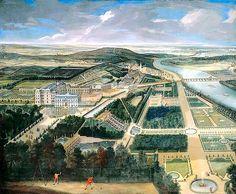 Domaine de Saint-Cloud (tel qu'il se présentait sous Philippe d'Orléans, frère de Louis XIV) avec, en contrebas, la Seine, à droite, Boulogne et, au fond, le Mont-Valérien.