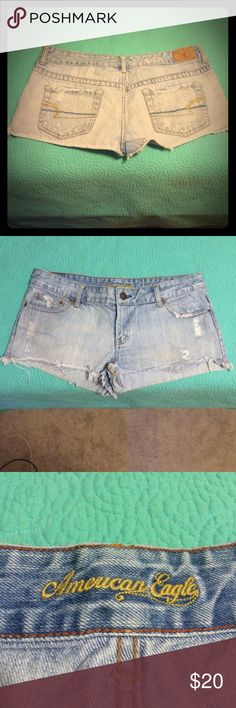 American Eagle Daisy Duke Shorts Cute short shorts. Although they are a size 8, they could fit up to a size 12 because they are also 100% cotton. Comfy and stretchy. American Eagle Outfitters Shorts Jean Shorts