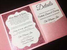 Glitter Wedding Invitation, Luxury Pocketfold Wedding Invitation, Elegant Wedding Invitation, Formal Wedding Invitation, Pink and Silver Glitter Wedding Invitation MARY VERSION