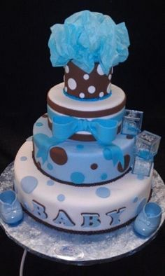 Baby shower Boy fondant Cake By Circoboy on CakeCentral.com
