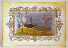 Card created by Phillipa Lewis using Craftwork Cards Masterpiece Stamp Duo - Ornate Frame & Landscape Artist.