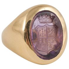 Antique Rings, Antique Jewelry, Bishop Ring, Jewelry Rings, Jewelery, Mens Gold Rings, Signet Ring, Amethyst, Stamps