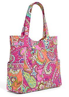 Vera Bradley Women's Pleated Tote Pink Swirls Tote Handbag