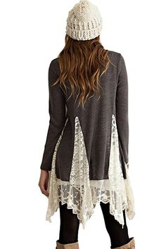 Tunic Sweater Top with Lace Detailing - another easy DIY with lace curtain and a sweater. I think I would make the inserts a little lower but this is cute. Remake Clothes, Redo Clothes, Sewing Clothes, Lace Sweater, Lace Tunic, Diy Fashion, Fashion Outfits, Recycled Fashion, Diy Clothing