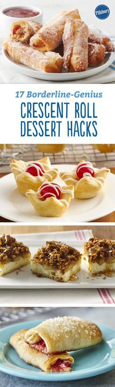 17 Borderline-Genius Crescent Roll Dessert Hacks - These recipes for bakery-worthy sweets are made easy with a flaky crescent dough shortcut. Pillsbury Biscuit Recipes, Pillsbury Crescent Roll Recipes, Recipes Using Crescent Rolls, Pilsbury Recipes, Bisquick Recipes, Healthy Dessert Recipes, Delicious Desserts, Yummy Food, Cardomom Recipes
