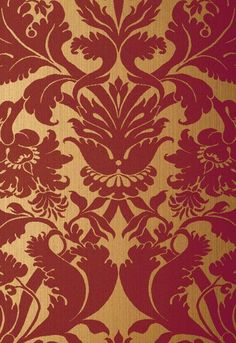 Schumacher Wallpaper 529195 Fiorella Damask Red On Gold Red And Gold Wallpaper, Accent Wallpaper, Damask Wallpaper, Glitter Wallpaper, Textured Wallpaper, Pattern Wallpaper, Bedroom Wallpaper, Wallpaper Ideas, Wallpaper Quotes