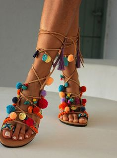Greek Sandals Tie Up Gladiator Sandals Pom Pom by DimitrasWorkshop  Gladiatori 3cff606a016
