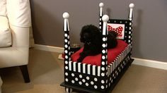 Four poster dog bed made from a coffee table.
