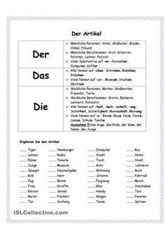 Merkmale von Artikel - DaF Arbeitsblätter